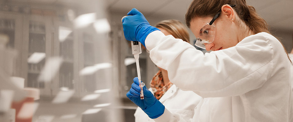 Photo of Mayo Clinic School of Health Sciences student testing samples in a laboratory