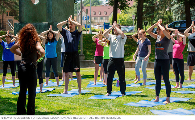 Photo of Mayo Medical School students participating in yoga