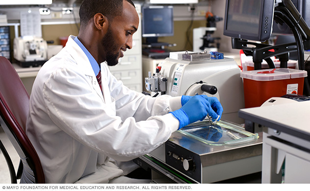 Histology Technician Program student in a lab