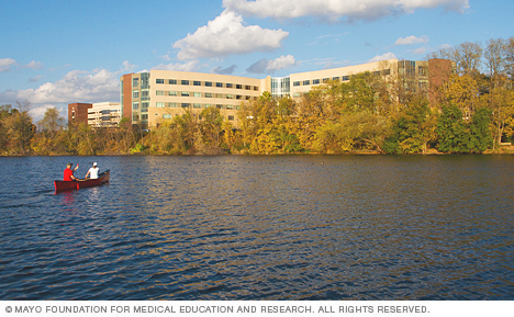 Photo of Mayo Clinic Health System in Eau Claire from across Half Moon Lake