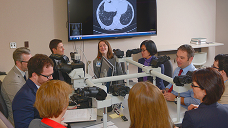 Photo showing Mayo Clinic pathologists talking and looking through microscopes