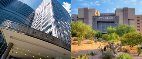 Photo of buildings at Mayo Clinic in Rochester, Minn., and Phoenix/Scottsdale, Ariz.