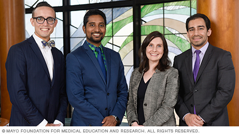 Photo of Justin A. Fiala, M.D.; Cyril Varghese, M.D.; Carina L. Preskill, M.D.; and Korosh Sharain, M.D.