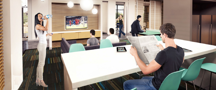 Architectural rendering of student lounge at Arizona campus