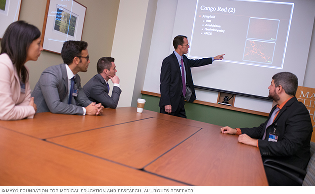 Mayo Clinic Adult Neurology residents and faculty in a classroom