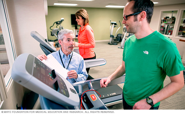 Mayo Clinic patient doing physical therapy on treadmill