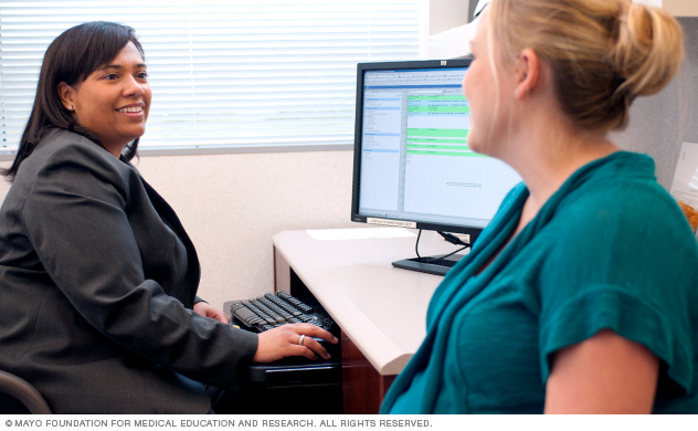 Family medicine resident interviewing a patient at Mayo Clinic in Jacksonville, Florida.