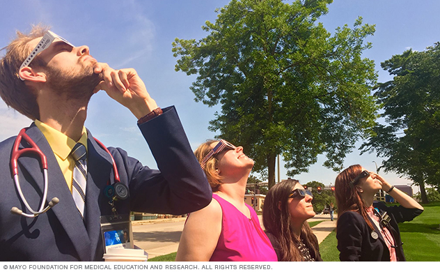 Mayo Clinic neurology residents watching eclipse