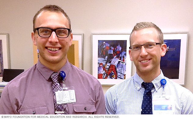 Two Mayo Clinic physical therapy orthopedic residents during the first week of orientation