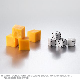 Four small cheese cubes equal one serving