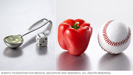 Three examples of visual cues for portion sizes