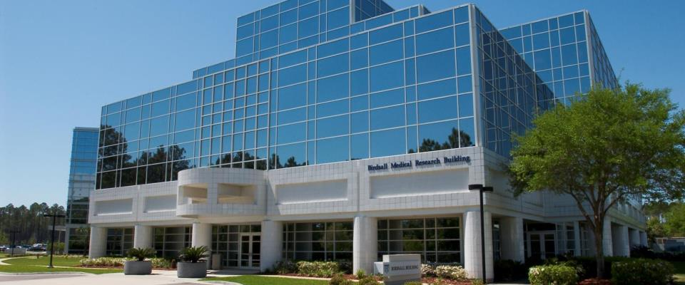 Birdsall Medical Research Building at Mayo Clinic's campus in Jacksonville, Florida.