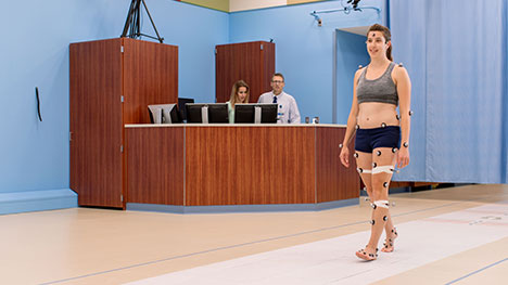 Picture of the Motion Analysis Lab team analyzing the gait of a research volunteer.