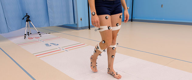 Picture of a gait study in the Motion Analysis Lab at Mayo Clinic.