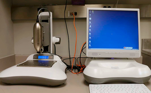 Active Life Scientific BioDent Hfc hardness testing system for reference point indentation testing of bone at Mayo Clinic.