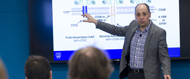 Dr. Saad Kenderian teaches a class in the Department of Immunology at Mayo Clinic.