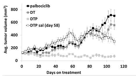 Graph showing robust synergy when palbociclib, dabrafenib and trametinib are used in combination in a melanoma patient-derived tumor xenograft (PDTX) model