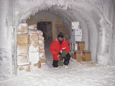 2006 Study Updates/Photos - Andy in a tunnel where they store food, -60 most of the year.