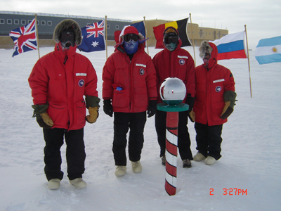 2006 Study Update/Photos - Ken, Andy, Kathy and Bruce at the South Pole, South Pole Station